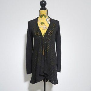 Denver Hays Black Knitted Draped Long Cardigan XS